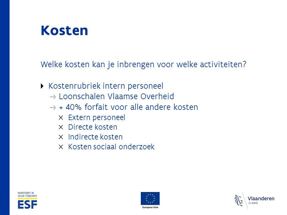 Kosten Welke kosten kan je inbrengen voor welke activiteiten? Kostenrubriek intern personeel Loonschalen Vlaamse Overheid + 40% forfait voor alle ande