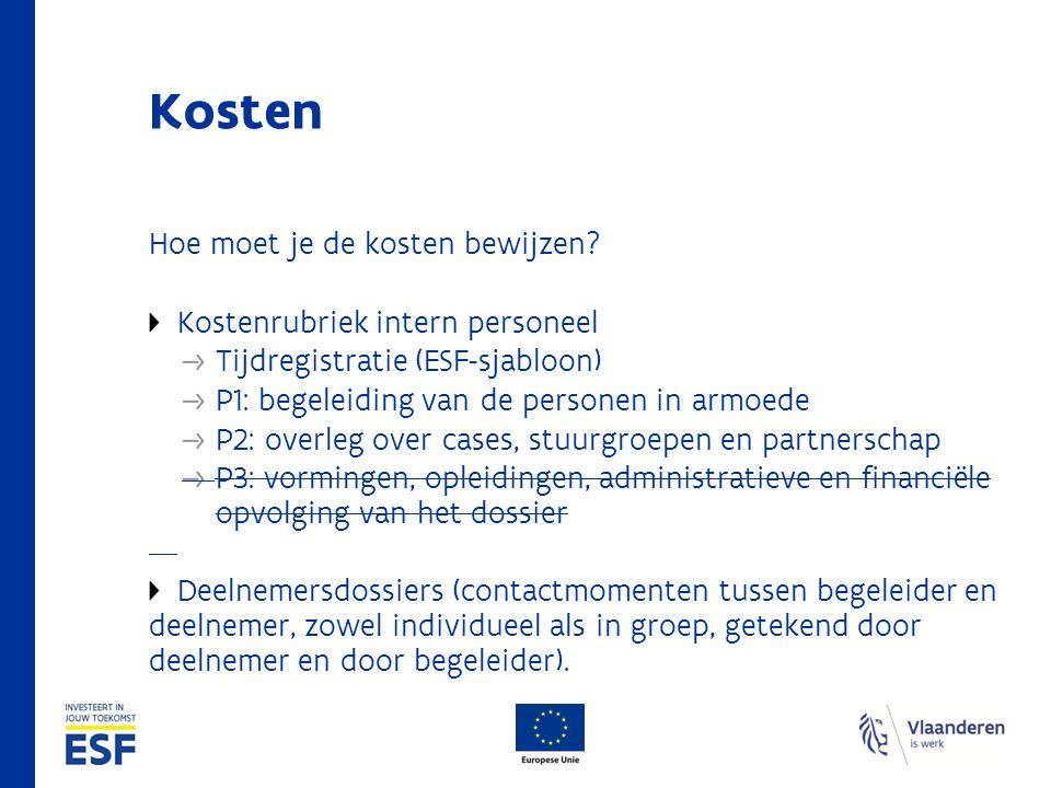 Kosten Hoe moet je de kosten bewijzen? Kostenrubriek intern personeel Tijdregistratie (ESF-sjabloon) P1: begeleiding van de personen in armoede P2: ov