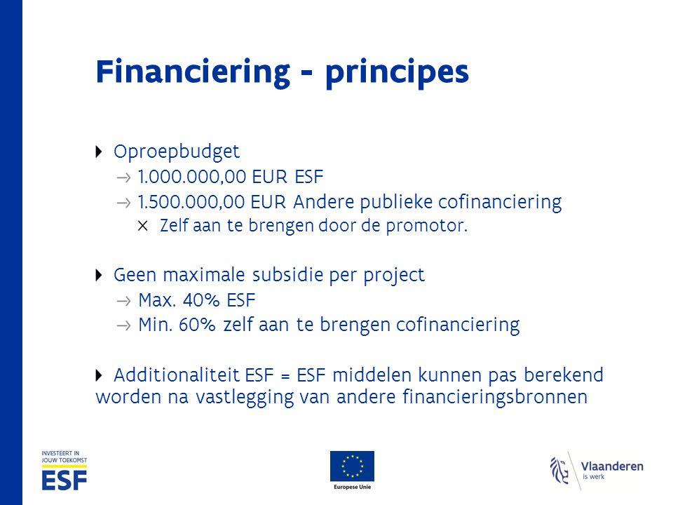 Financiering - principes Oproepbudget 1.000.000,00 EUR ESF 1.500.000,00 EUR Andere publieke cofinanciering Zelf aan te brengen door de promotor. Geen