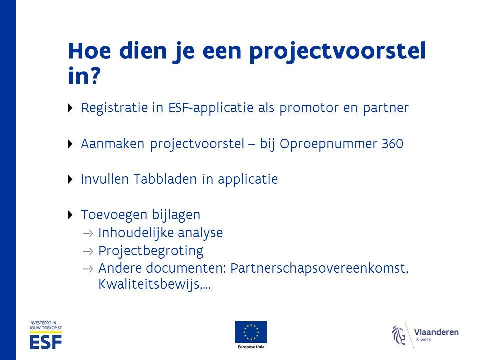 Hoe dien je een projectvoorstel in? Registratie in ESF-applicatie als promotor en partner Aanmaken projectvoorstel – bij Oproepnummer 360 Invullen Tab