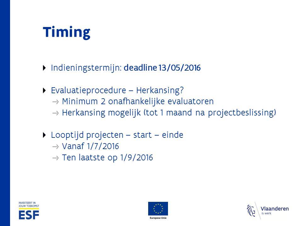 Timing Indieningstermijn: deadline 13/05/2016 Evaluatieprocedure – Herkansing? Minimum 2 onafhankelijke evaluatoren Herkansing mogelijk (tot 1 maand n
