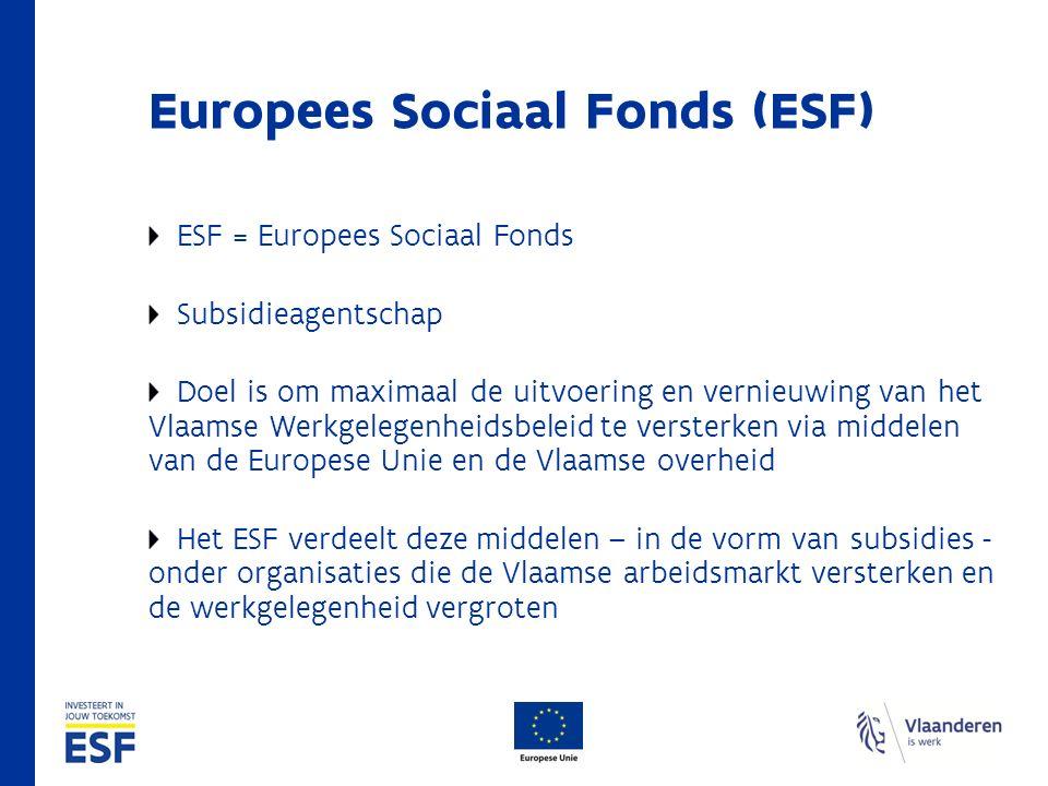 Europees Sociaal Fonds (ESF) ESF = Europees Sociaal Fonds Subsidieagentschap Doel is om maximaal de uitvoering en vernieuwing van het Vlaamse Werkgele