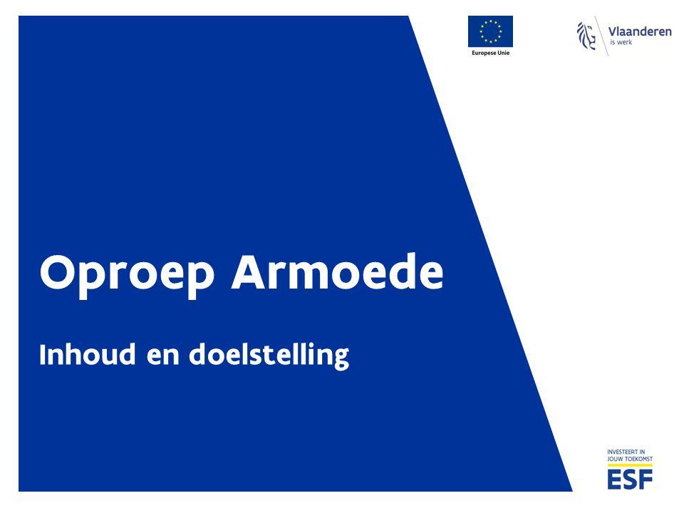 Financiering - principes Oproepbudget 1.000.000,00 EUR ESF 1.500.000,00 EUR Andere publieke cofinanciering Zelf aan te brengen door de promotor.