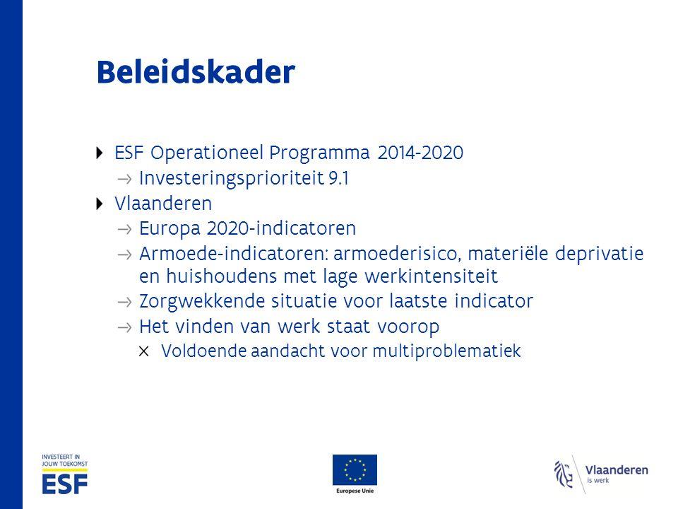 Beleidskader ESF Operationeel Programma 2014-2020 Investeringsprioriteit 9.1 Vlaanderen Europa 2020-indicatoren Armoede-indicatoren: armoederisico, ma