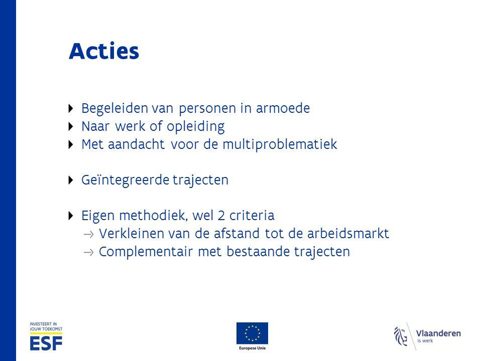Acties Begeleiden van personen in armoede Naar werk of opleiding Met aandacht voor de multiproblematiek Geïntegreerde trajecten Eigen methodiek, wel 2