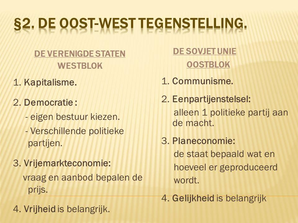 DE VERENIGDE STATEN WESTBLOK 1. Kapitalisme. 2. Democratie : - eigen bestuur kiezen. - Verschillende politieke partijen. 3. Vrijemarkteconomie: vraag