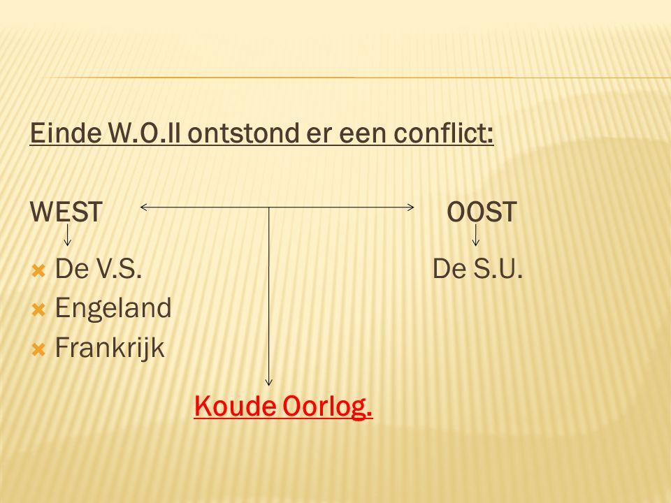 Einde W.O.II ontstond er een conflict: WEST OOST  De V.S.De S.U.  Engeland  Frankrijk Koude Oorlog.