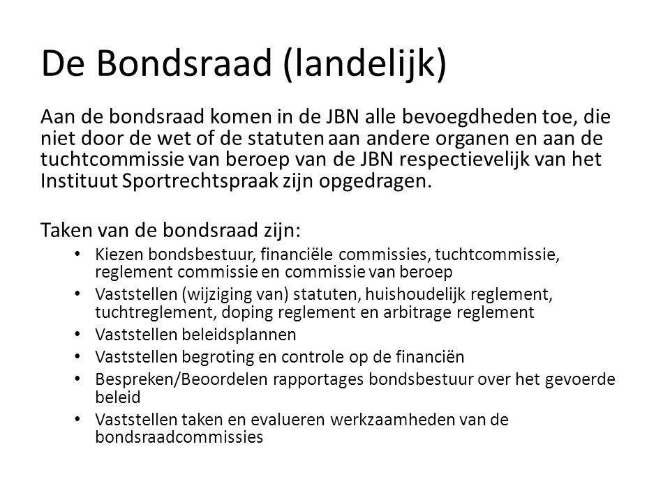 De Bondsraad (landelijk) Aan de bondsraad komen in de JBN alle bevoegdheden toe, die niet door de wet of de statuten aan andere organen en aan de tuchtcommissie van beroep van de JBN respectievelijk van het Instituut Sportrechtspraak zijn opgedragen.