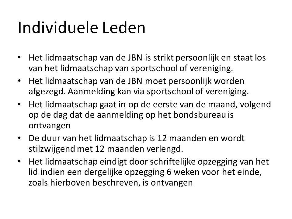 Individuele Leden Het lidmaatschap van de JBN is strikt persoonlijk en staat los van het lidmaatschap van sportschool of vereniging.