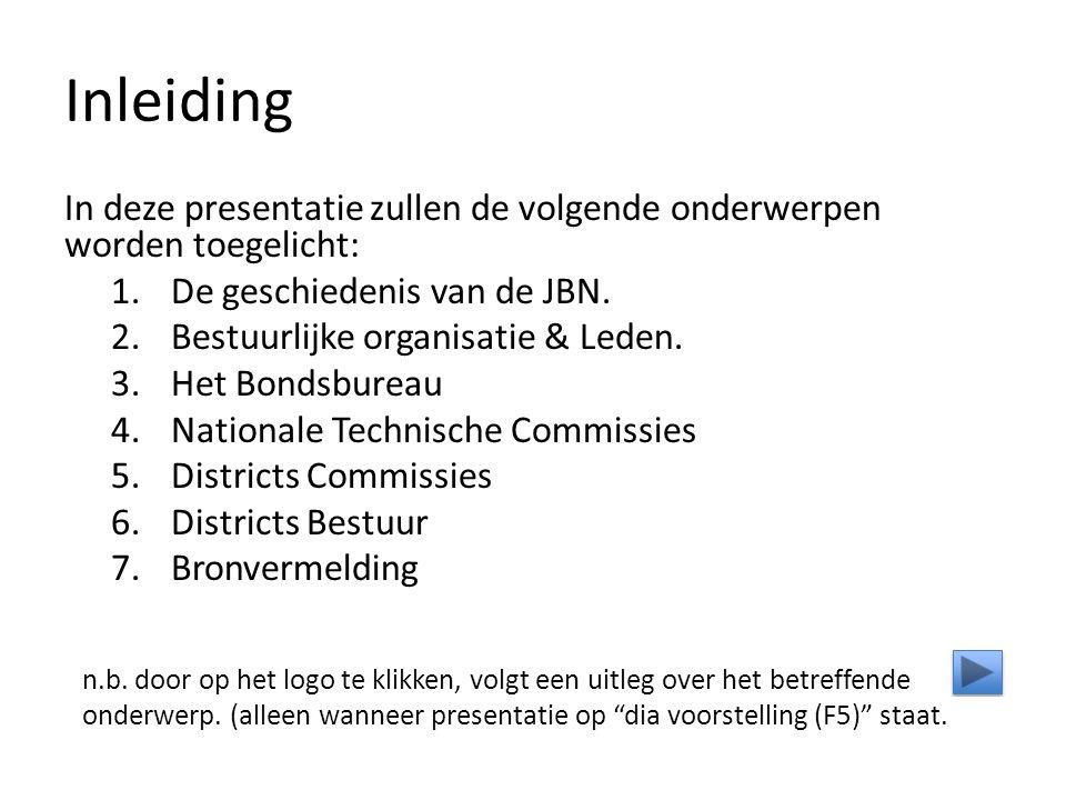 Inleiding In deze presentatie zullen de volgende onderwerpen worden toegelicht: 1.De geschiedenis van de JBN.