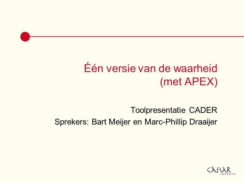 Één versie van de waarheid (met APEX) Toolpresentatie CADER Sprekers: Bart Meijer en Marc-Phillip Draaijer