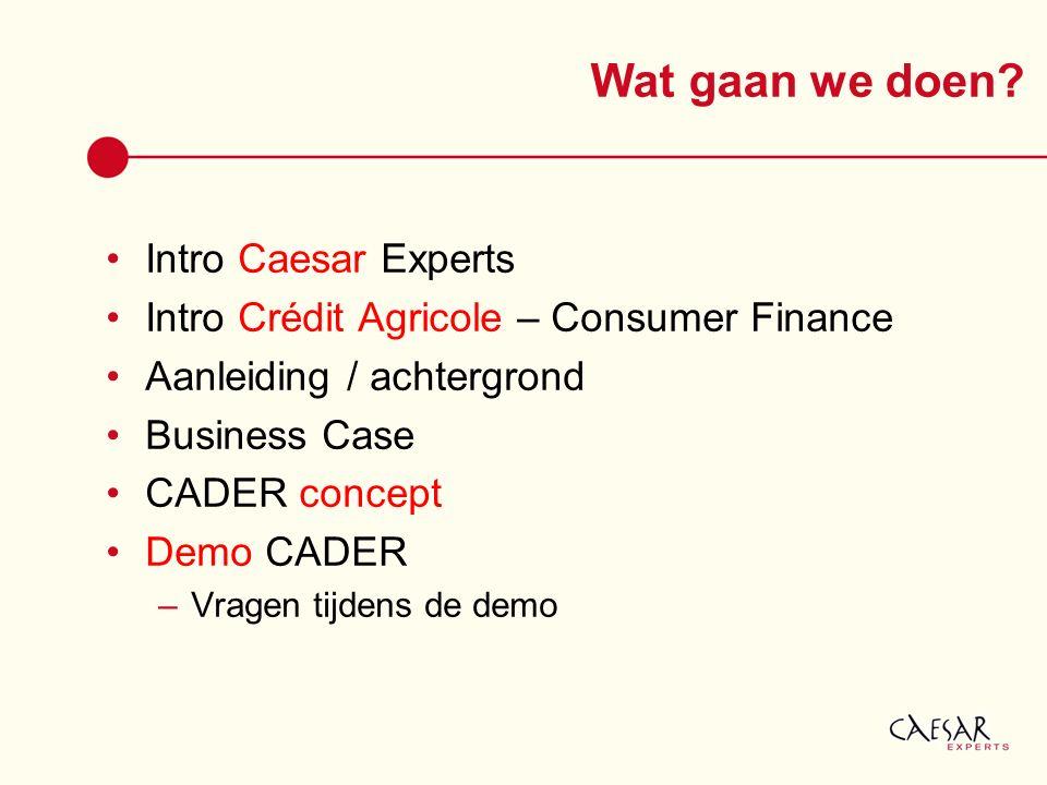 Wat gaan we doen? Intro Caesar Experts Intro Crédit Agricole – Consumer Finance Aanleiding / achtergrond Business Case CADER concept Demo CADER –Vrage