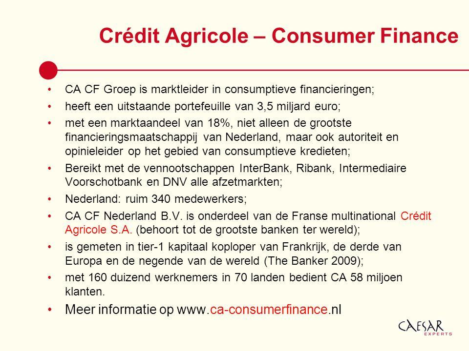 Crédit Agricole – Consumer Finance CA CF Groep is marktleider in consumptieve financieringen; heeft een uitstaande portefeuille van 3,5 miljard euro;