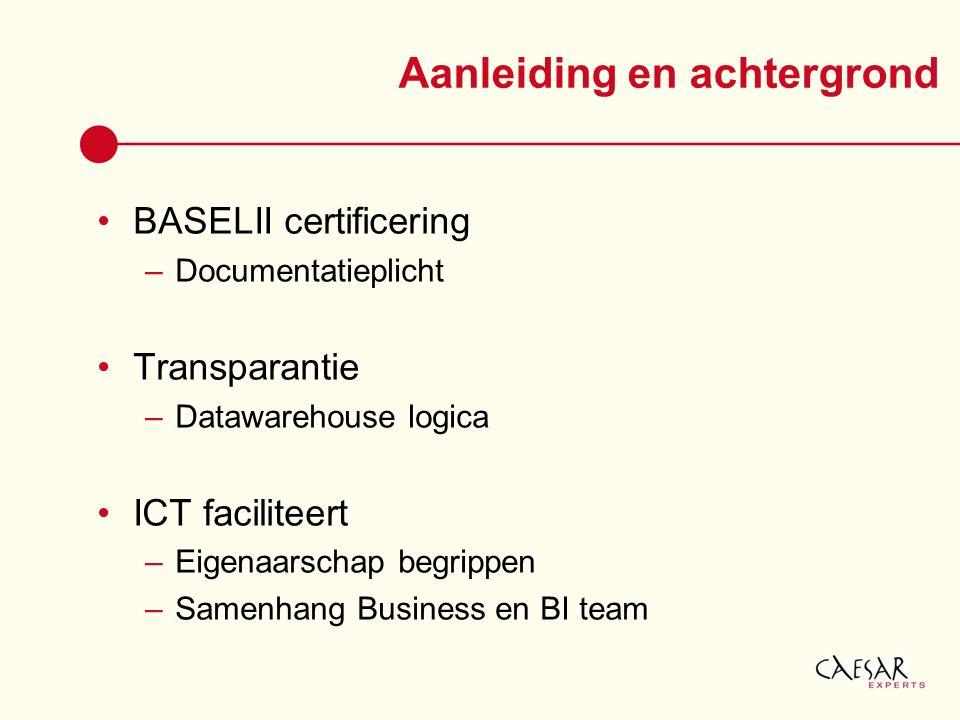 Aanleiding en achtergrond BASELII certificering –Documentatieplicht Transparantie –Datawarehouse logica ICT faciliteert –Eigenaarschap begrippen –Same