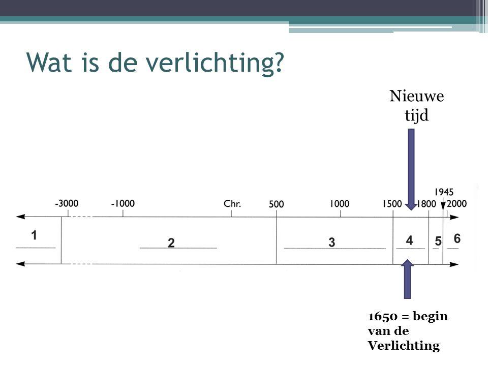 Wat is de verlichting Nieuwe tijd 1650 = begin van de Verlichting