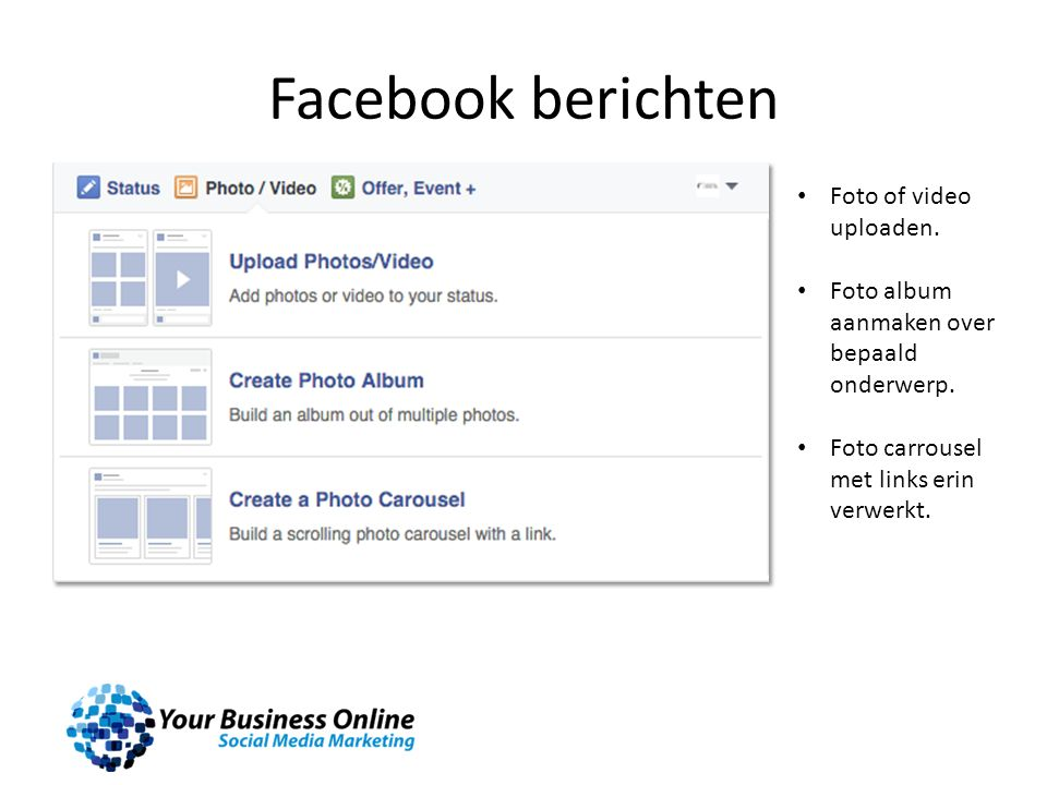 Facebook berichten Foto of video uploaden. Foto album aanmaken over bepaald onderwerp. Foto carrousel met links erin verwerkt.