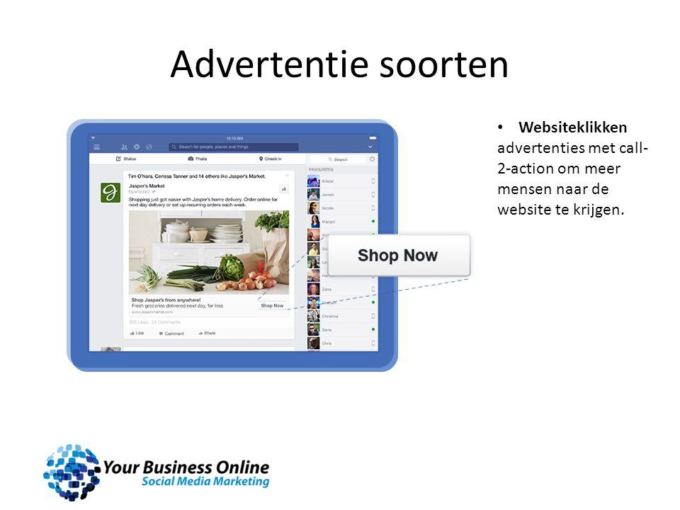 Advertentie soorten Websiteklikken advertenties met call- 2-action om meer mensen naar de website te krijgen.