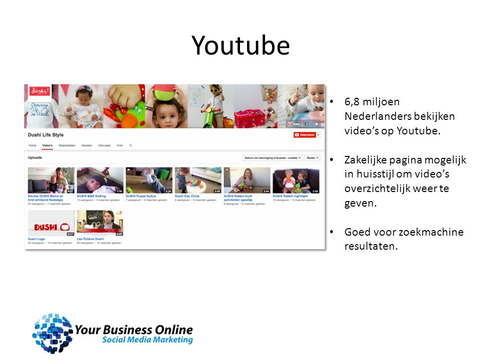Youtube 6,8 miljoen Nederlanders bekijken video's op Youtube. Zakelijke pagina mogelijk in huisstijl om video's overzichtelijk weer te geven. Goed voo
