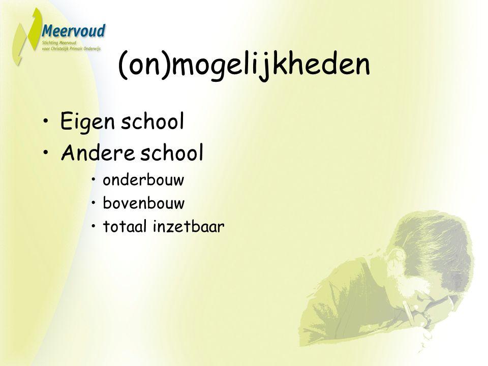 (on)mogelijkheden Eigen school Andere school onderbouw bovenbouw totaal inzetbaar