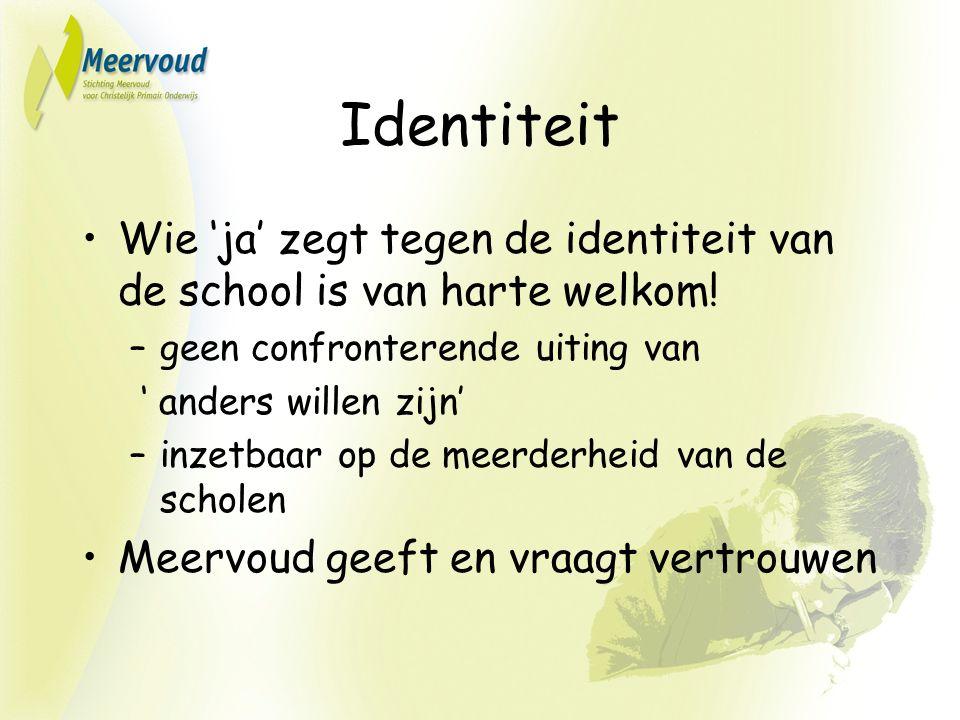 Identiteit Wie 'ja' zegt tegen de identiteit van de school is van harte welkom.