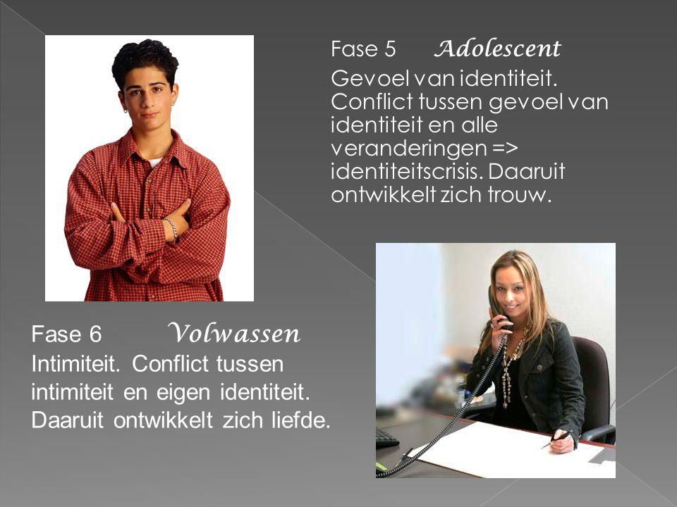 Fase 5 Adolescent Gevoel van identiteit. Conflict tussen gevoel van identiteit en alle veranderingen => identiteitscrisis. Daaruit ontwikkelt zich tro