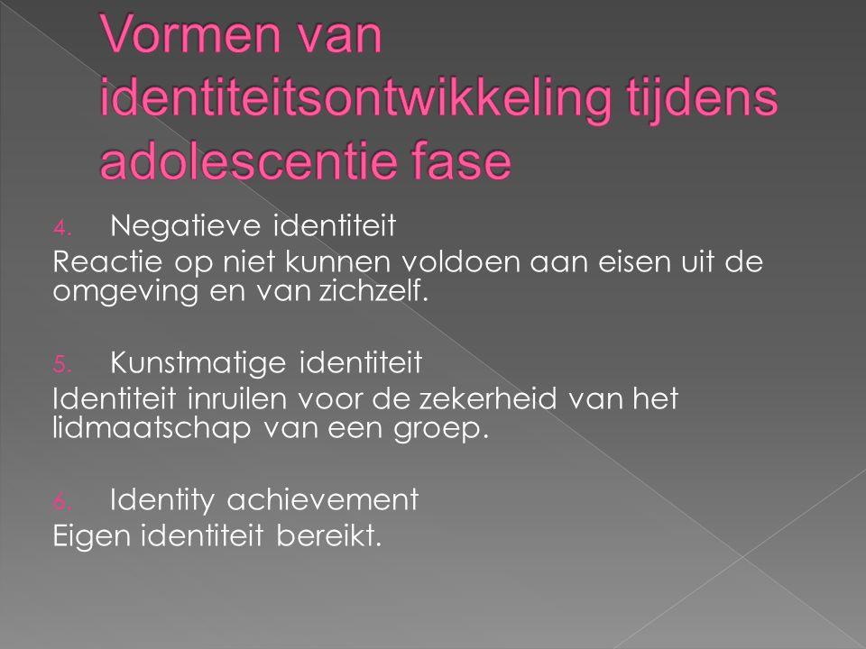 4. Negatieve identiteit Reactie op niet kunnen voldoen aan eisen uit de omgeving en van zichzelf.