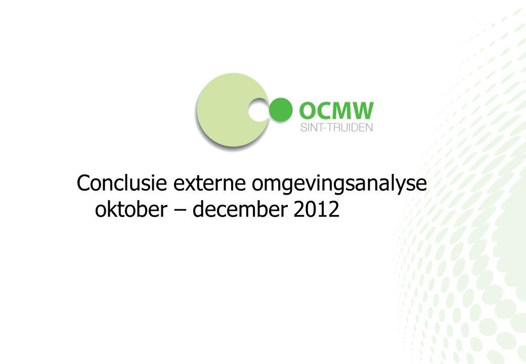 Conclusie externe omgevingsanalyse oktober – december 2012