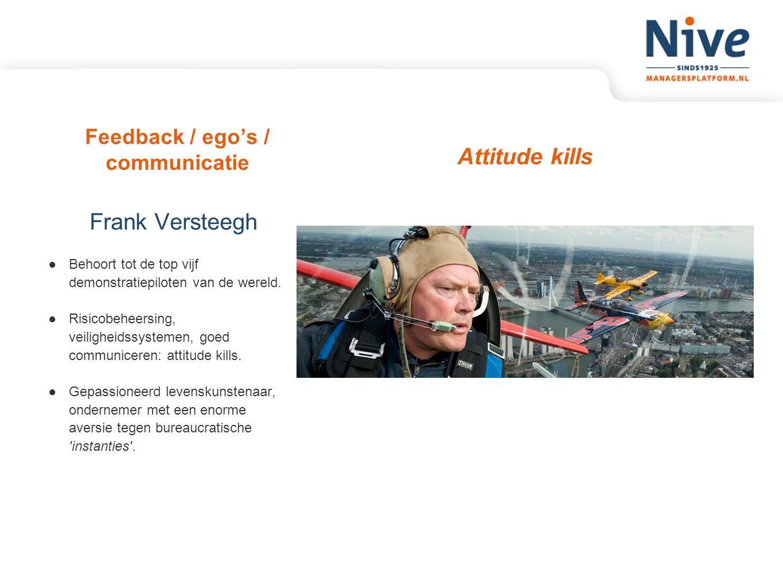 Feedback / ego's / communicatie Attitude kills Frank Versteegh ●Behoort tot de top vijf demonstratiepiloten van de wereld. ●Risicobeheersing, veilighe