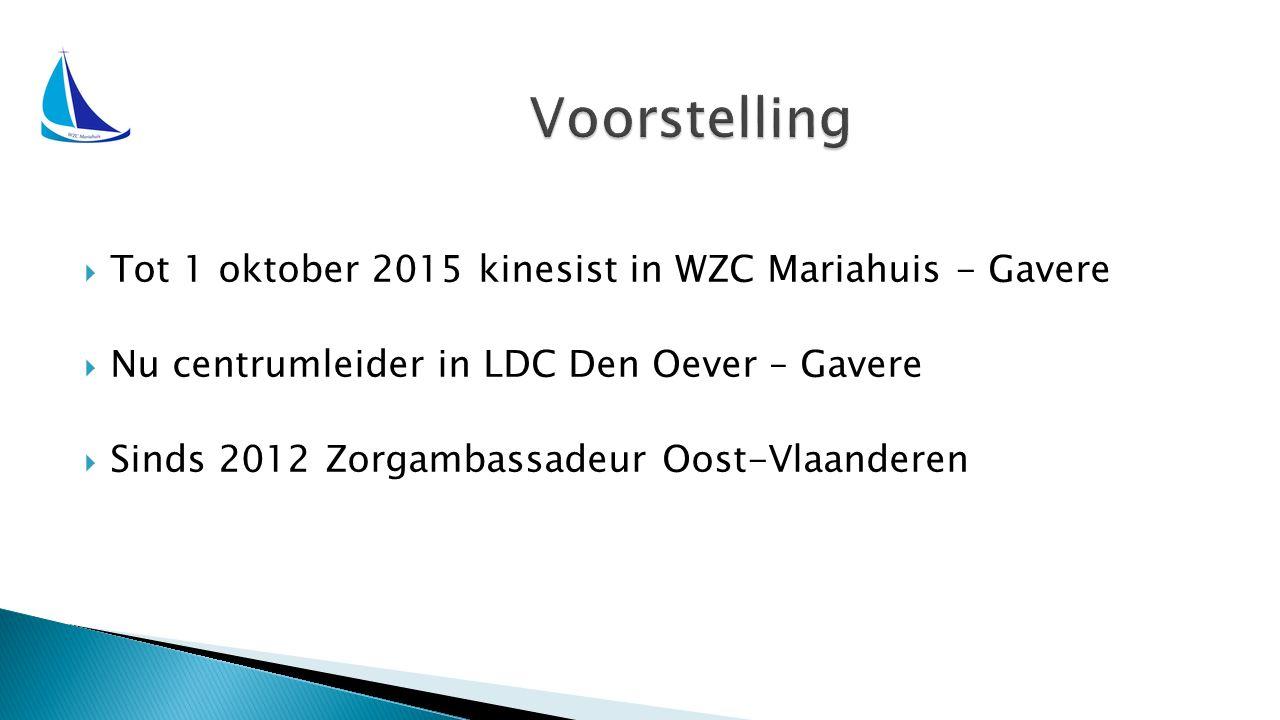  Tot 1 oktober 2015 kinesist in WZC Mariahuis - Gavere  Nu centrumleider in LDC Den Oever – Gavere  Sinds 2012 Zorgambassadeur Oost-Vlaanderen