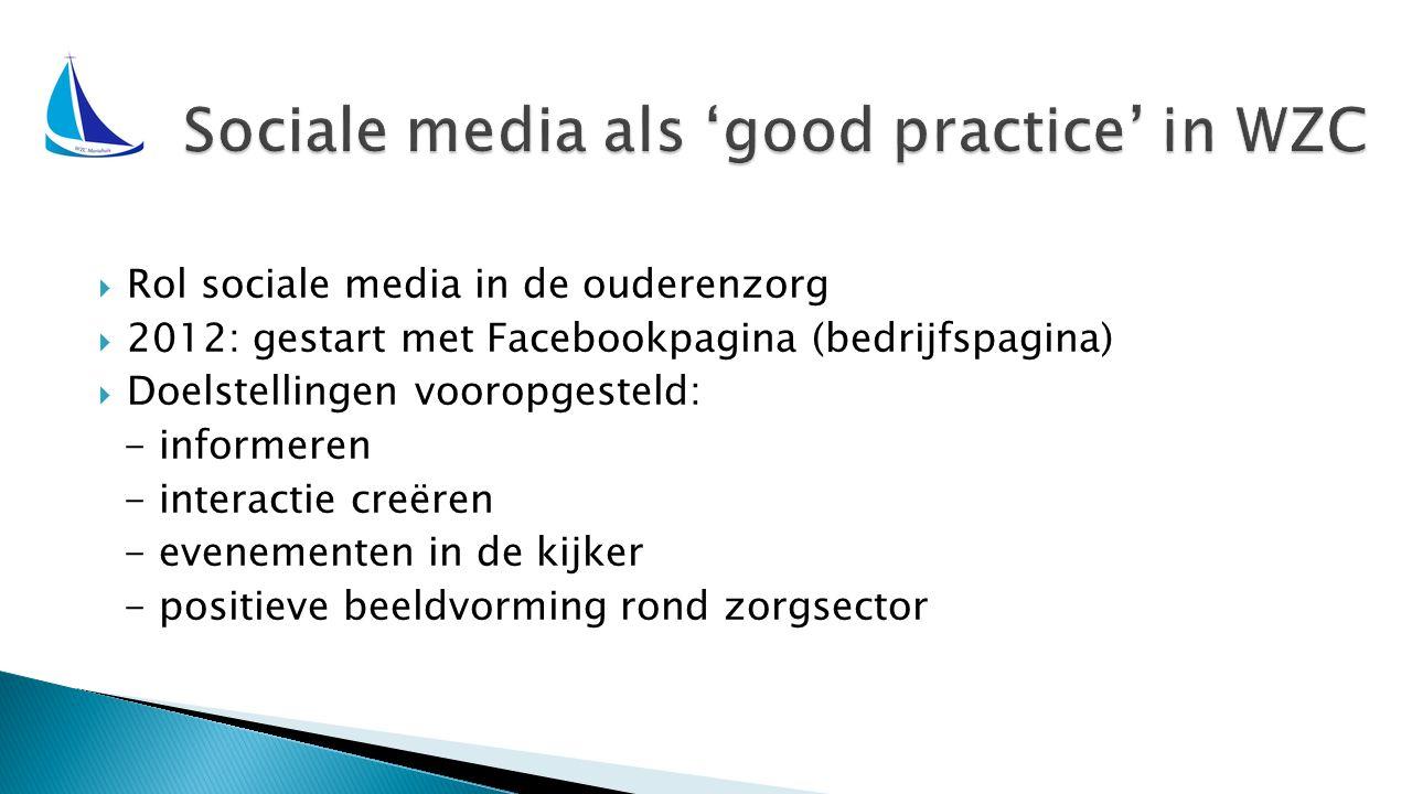  Rol sociale media in de ouderenzorg  2012: gestart met Facebookpagina (bedrijfspagina)  Doelstellingen vooropgesteld: - informeren - interactie creëren - evenementen in de kijker - positieve beeldvorming rond zorgsector