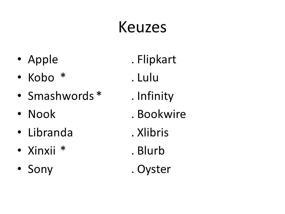 Keuzes Apple. Flipkart Kobo*. Lulu Smashwords *. Infinity Nook. Bookwire Libranda. Xlibris Xinxii*. Blurb Sony. Oyster