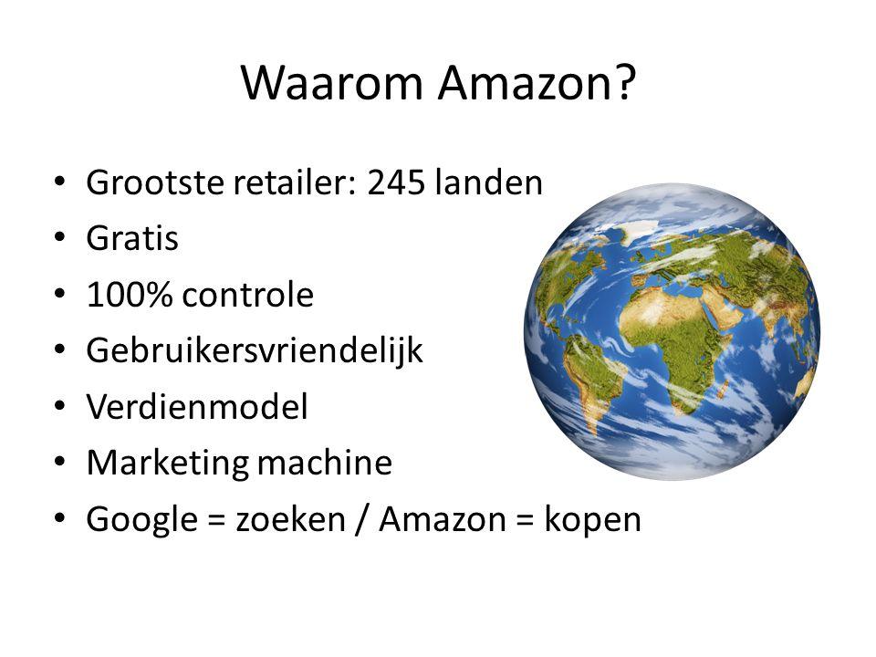 Waarom Amazon? Grootste retailer: 245 landen Gratis 100% controle Gebruikersvriendelijk Verdienmodel Marketing machine Google = zoeken / Amazon = kope