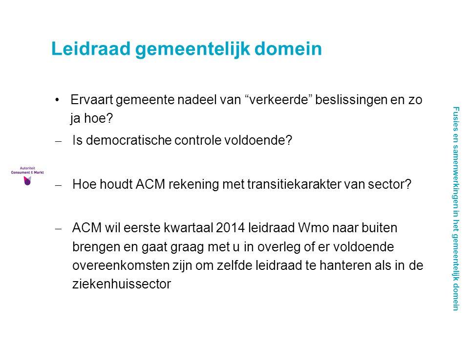 Fusies en samenwerkingen in het gemeentelijk domein Leidraad gemeentelijk domein Ervaart gemeente nadeel van verkeerde beslissingen en zo ja hoe.