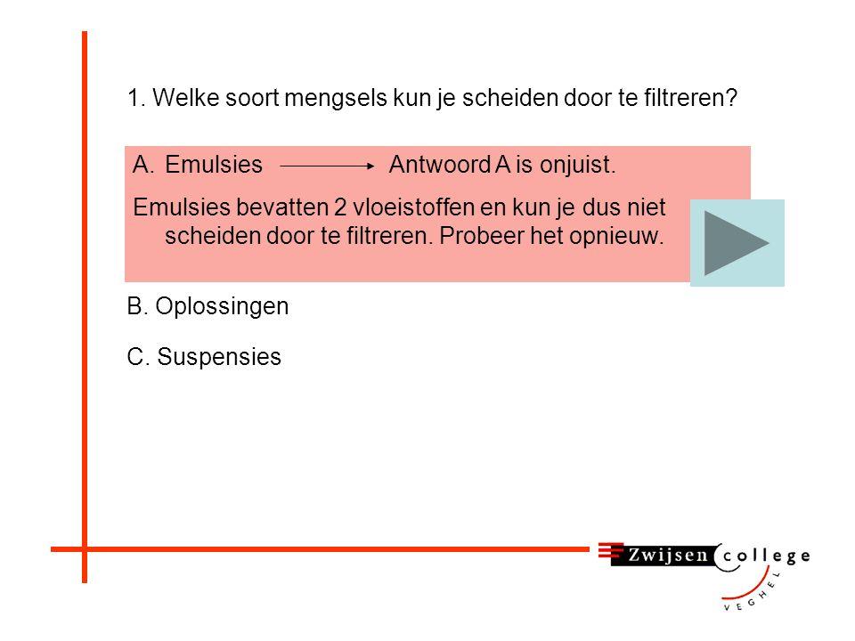 A.EmulsiesAntwoord A is onjuist.