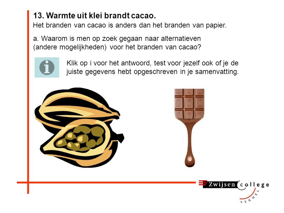 13. Warmte uit klei brandt cacao. TNO in Apeldoorn heeft een schonere techniek ontwikkeld om koffie, cacao en noten te branden en te drogen. In de ind