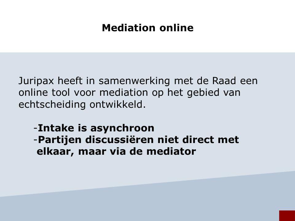 Mediation online Juripax heeft in samenwerking met de Raad een online tool voor mediation op het gebied van echtscheiding ontwikkeld.