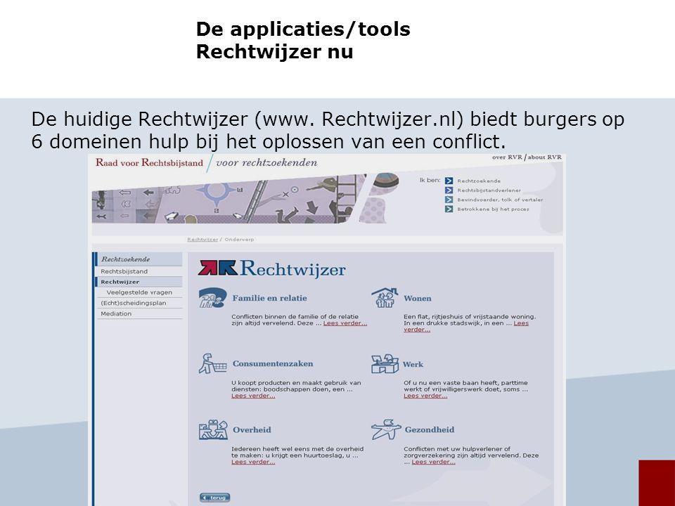 De applicaties/tools Rechtwijzer nu De huidige Rechtwijzer (www.