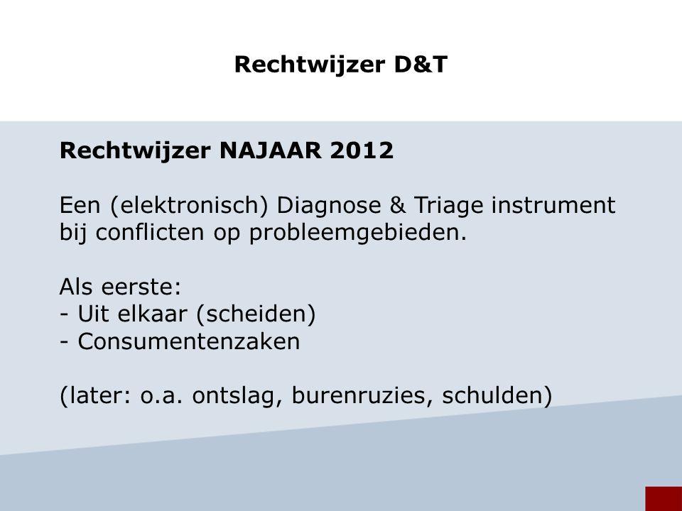 Rechtwijzer D&T Rechtwijzer NAJAAR 2012 Een (elektronisch) Diagnose & Triage instrument bij conflicten op probleemgebieden.