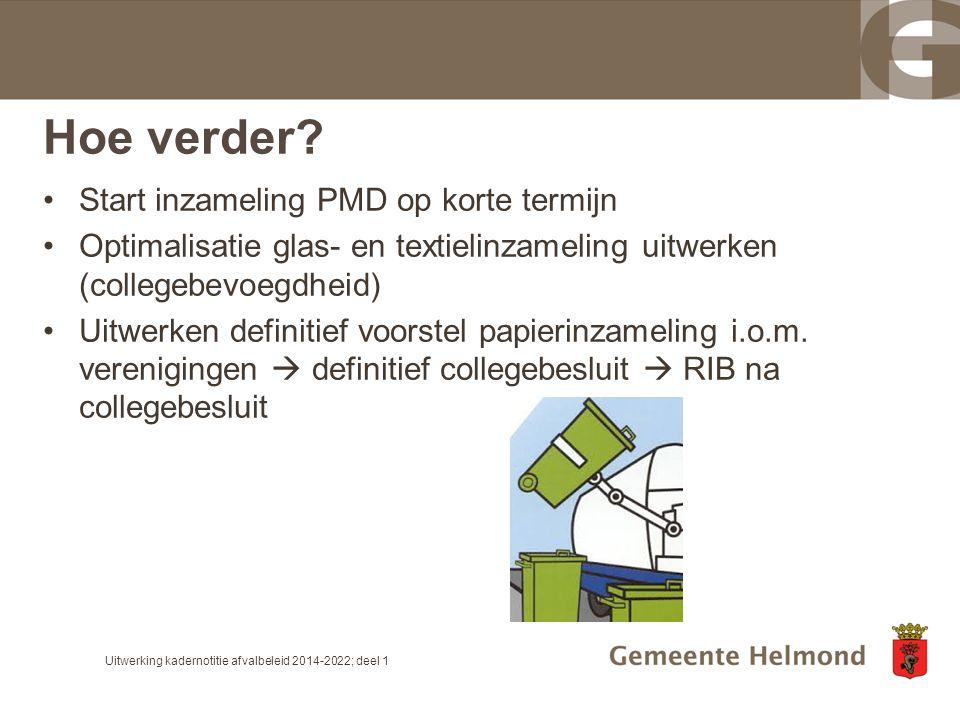 Hoe verder? Start inzameling PMD op korte termijn Optimalisatie glas- en textielinzameling uitwerken (collegebevoegdheid) Uitwerken definitief voorste