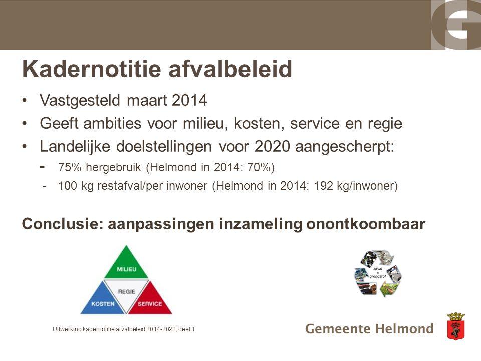 Kadernotitie afvalbeleid Vastgesteld maart 2014 Geeft ambities voor milieu, kosten, service en regie Landelijke doelstellingen voor 2020 aangescherpt: