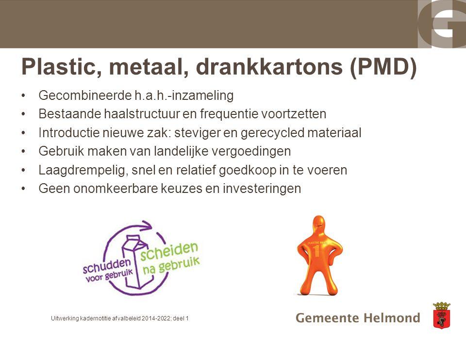 Plastic, metaal, drankkartons (PMD) Gecombineerde h.a.h.-inzameling Bestaande haalstructuur en frequentie voortzetten Introductie nieuwe zak: steviger