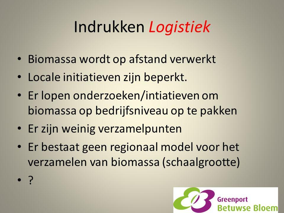 Indrukken Logistiek Biomassa wordt op afstand verwerkt Locale initiatieven zijn beperkt. Er lopen onderzoeken/intiatieven om biomassa op bedrijfsnivea