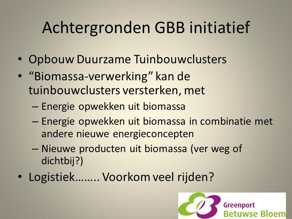 """Achtergronden GBB initiatief Opbouw Duurzame Tuinbouwclusters """"Biomassa-verwerking"""" kan de tuinbouwclusters versterken, met – Energie opwekken uit bio"""