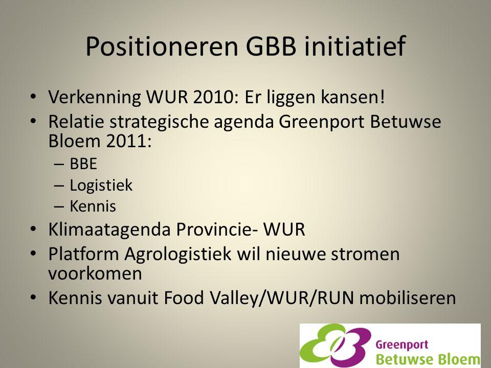 Positioneren GBB initiatief Verkenning WUR 2010: Er liggen kansen! Relatie strategische agenda Greenport Betuwse Bloem 2011: – BBE – Logistiek – Kenni