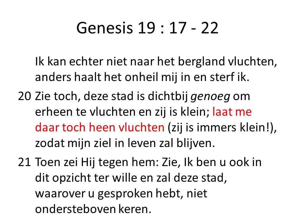 Genesis 19 : 17 - 22 Ik kan echter niet naar het bergland vluchten, anders haalt het onheil mij in en sterf ik. 20Zie toch, deze stad is dichtbij geno
