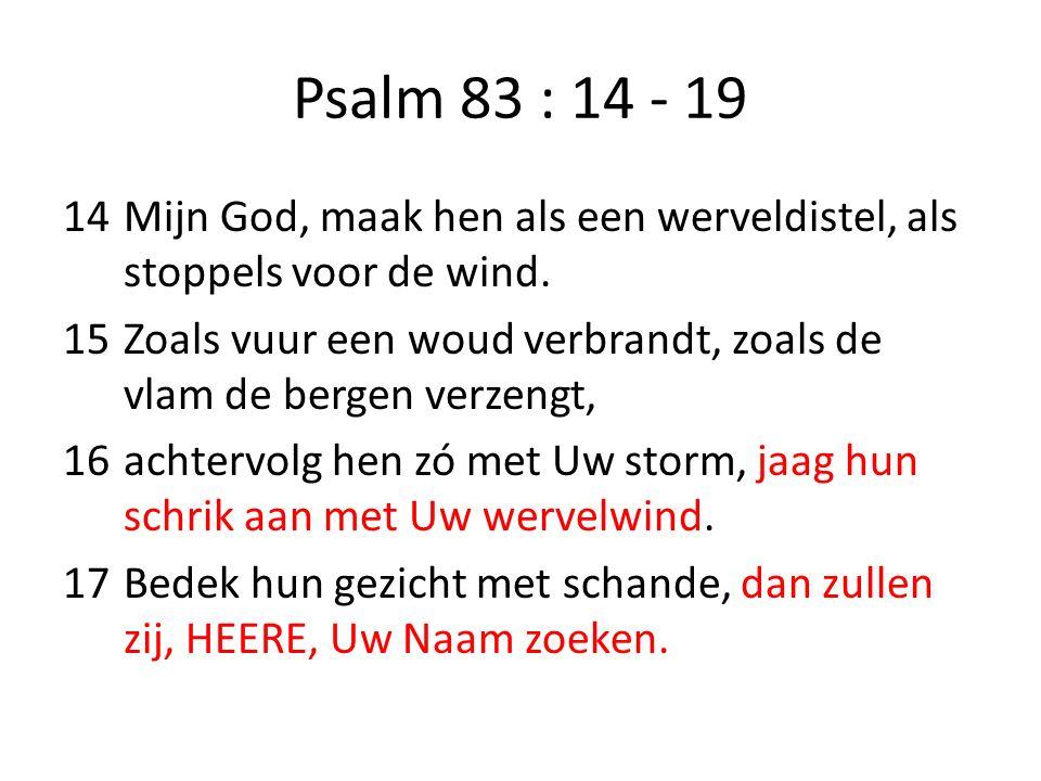 Psalm 83 : 14 - 19 14Mijn God, maak hen als een werveldistel, als stoppels voor de wind. 15Zoals vuur een woud verbrandt, zoals de vlam de bergen verz