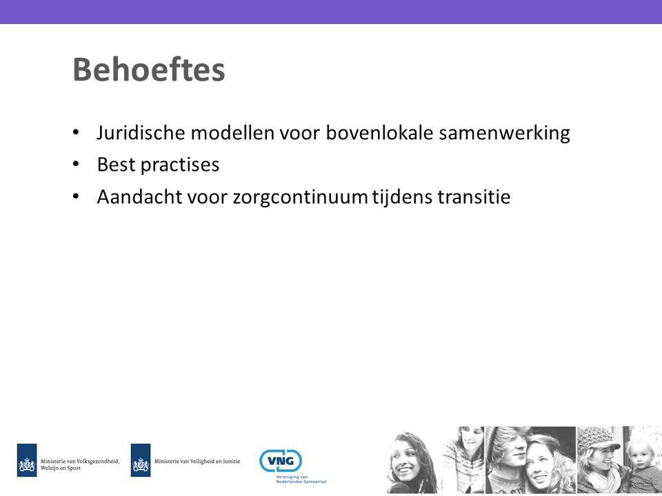 Behoeftes Juridische modellen voor bovenlokale samenwerking Best practises Aandacht voor zorgcontinuum tijdens transitie