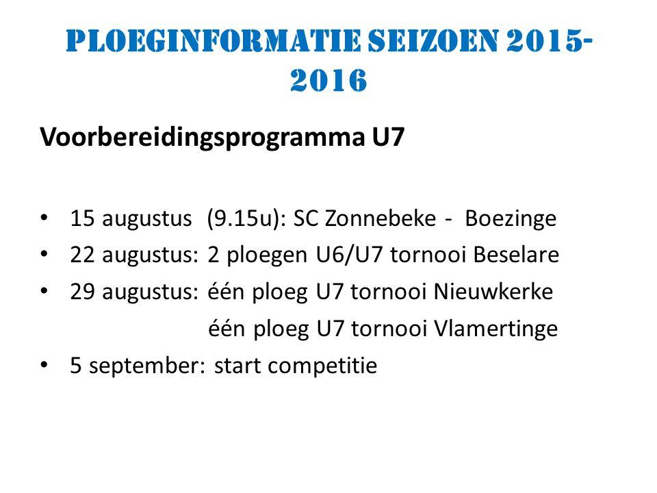 Ploeginformatie seizoen 2015- 2016 Voorbereidingsprogramma U7 15 augustus (9.15u): SC Zonnebeke - Boezinge 22 augustus: 2 ploegen U6/U7 tornooi Beselare 29 augustus: één ploeg U7 tornooi Nieuwkerke één ploeg U7 tornooi Vlamertinge 5 september: start competitie