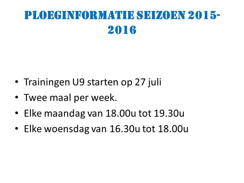 Ploeginformatie seizoen 2015- 2016 Trainingen U9 starten op 27 juli Twee maal per week.