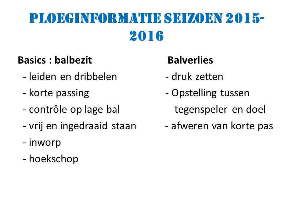 Ploeginformatie seizoen 2015- 2016 Basics : balbezit Balverlies - leiden en dribbelen - druk zetten - korte passing - Opstelling tussen - contrôle op lage bal tegenspeler en doel - vrij en ingedraaid staan - afweren van korte pas - inworp - hoekschop